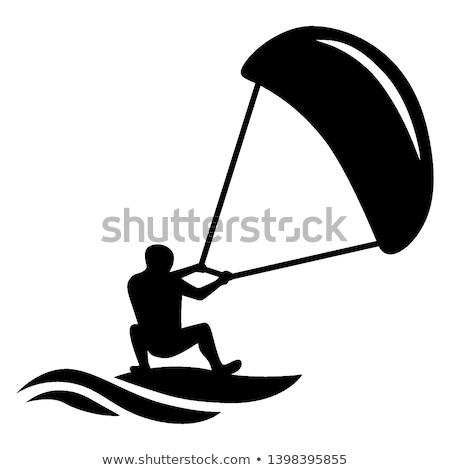 pipa · surfista · silhueta · saltando · ondas · céu - foto stock © acidgrey