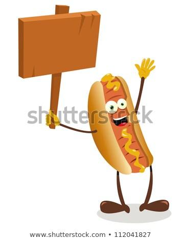 Komik sosisli sandviç vektör karikatür Stok fotoğraf © pcanzo