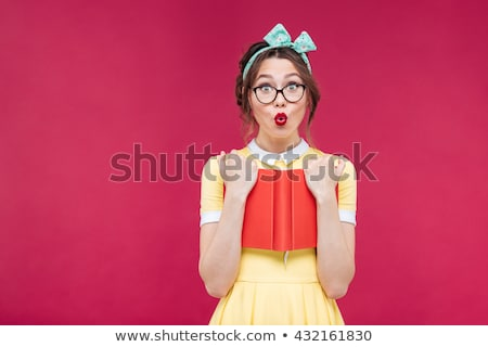 Engraçado pin para cima menina batom vermelho belo Foto stock © rosipro