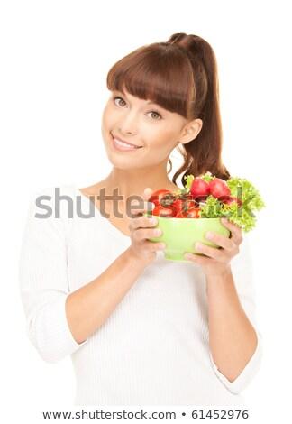mooie · huisvrouw · sla · witte · heldere · foto - stockfoto © dolgachov