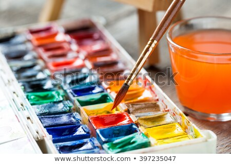 watercolor paint box with brush and water glass Stock photo © Zerbor