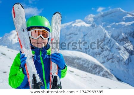 クローズアップ 少年 スキー 雪 子 背景 ストックフォト © zzve
