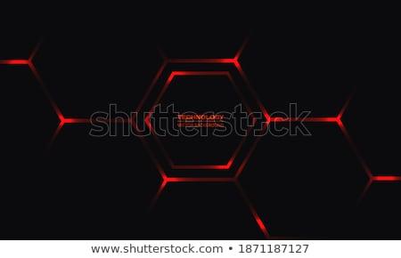 Absztrakt piros hatszög építkezés technológia keret Stock fotó © sdmix