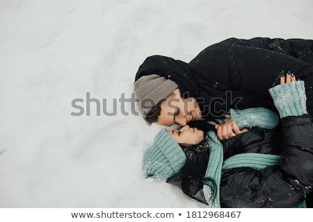 śniegu para ogród hat kobiet Zdjęcia stock © monkey_business