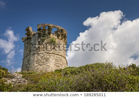 Old ruined building and coast at Farinole in Corsica Stock photo © Joningall