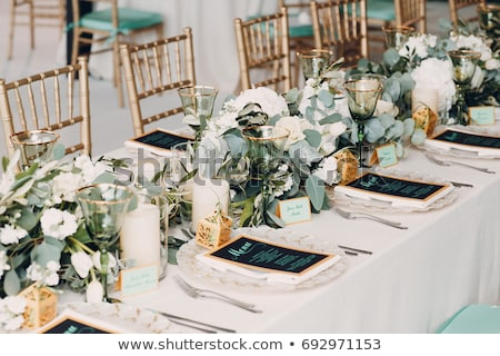 Foto d'archivio: Bella · bouquet · tavola · cerimonia · di · nozze · fiori · matrimonio