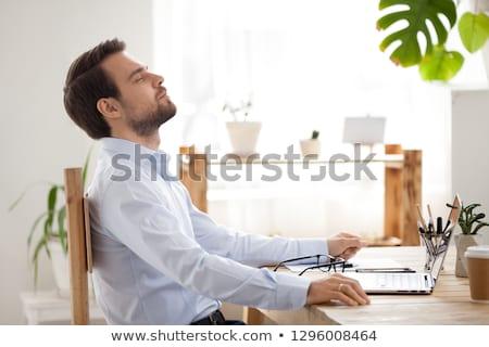 沈黙 深い 息 小さな ビジネスマン ストックフォト © stockyimages