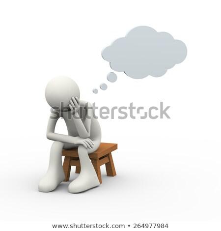 Cartoon разочарованный человека мысли пузырь стороны дизайна Сток-фото © lineartestpilot