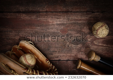 Eski beyzbol eldiveni eski kahverengi deri zaman Stok fotoğraf © Hofmeester