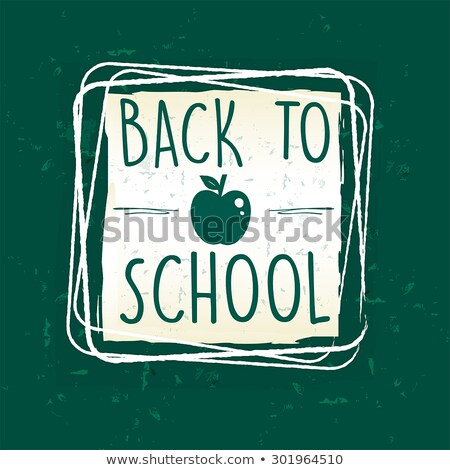 Back To School With Apple In Frame Over Green Old Paper Backgrou