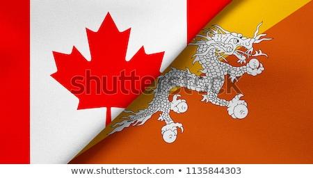 Foto stock: Canadá · Butão · bandeiras · quebra-cabeça · isolado · branco