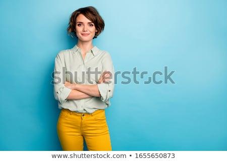 boldog · üzletasszony · rövid · hajviselet · gyönyörű · izolált - stock fotó © kurhan