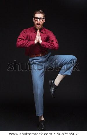 Vertical imagem masculino nerd lutador nu Foto stock © deandrobot