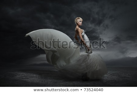 blonde woman wearing gorgeous dress over dark stock photo © julenochek