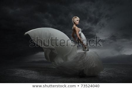ストックフォト: 着用 · ゴージャス · ドレス · 暗い · 美しい