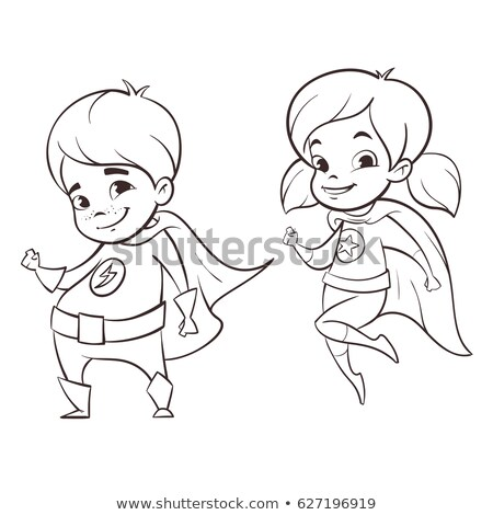 vector hand drawn monochrome illustration of two happy super her stock photo © curiosity