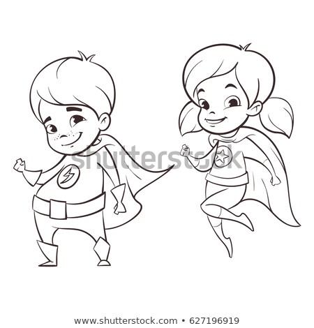 Vettore in bianco e nero illustrazione due felice Foto d'archivio © curiosity