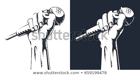 Hand microfoon illustratie vector doodle Stockfoto © frescomovie
