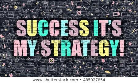 multicolor success its my strategy on dark brickwall stock photo © tashatuvango