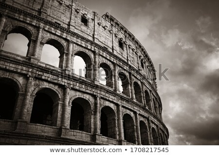 colosseum closeup view the world known landmark of rome italy stock photo © ankarb