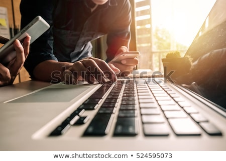 ストックフォト: 広告 · クローズアップ · キーボード · 白 · ノートパソコン · 書かれた