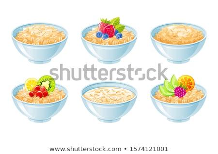Tigela aveia cereal isolado alimentação saudável café da manhã Foto stock © MaryValery