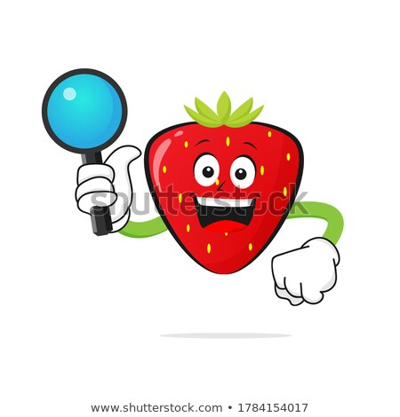 Strawberry Fruit Cartoon Mascot Character Holding Up A Glass Of Juice Stock photo © hittoon