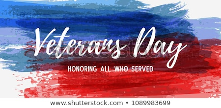 Veterans Day of USA with star in national flag colors american flag. Honoring all who served. Vector Stock photo © olehsvetiukha