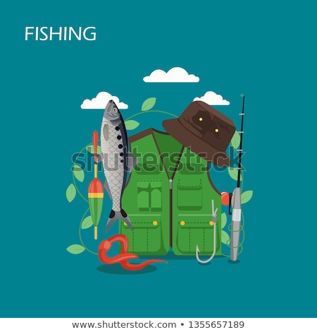 angler and fishing tool and clothing illustration stock photo © robuart