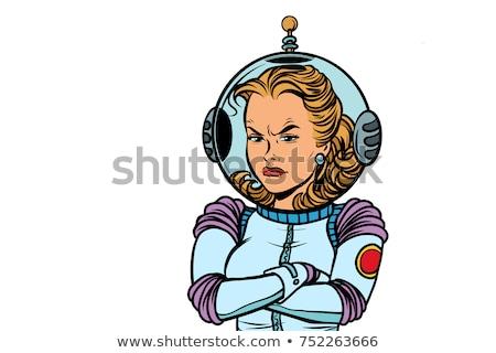 Karikatür öfkeli astronot kadın bakıyor Stok fotoğraf © cthoman
