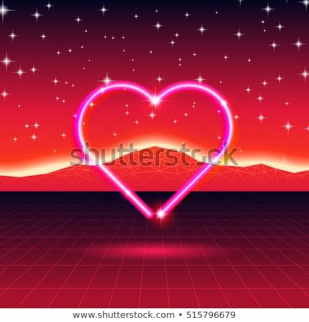 80 · retro · futurista · cartão · néon · coração - foto stock © SwillSkill