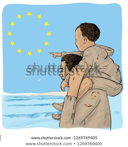 father and son immigrants in front of the European flag  Stock photo © doomko