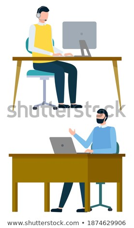 male wearing headphones looking at laptop vector stock photo © robuart