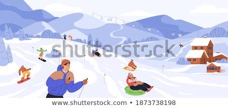Kayakçı binicilik gözlük kış eğlence tatil Stok fotoğraf © RAStudio