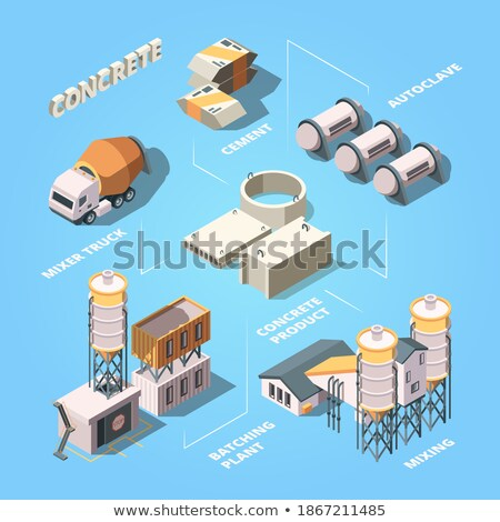 Stages of construction of the processing factory isolated on white background. Vector cartoon close- Stock photo © Lady-Luck