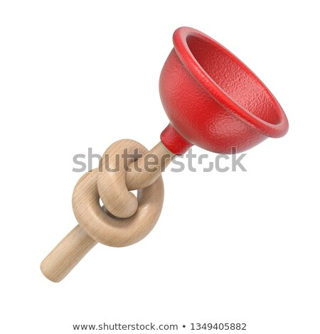 red kitchen plunger knotted 3d stock photo © djmilic