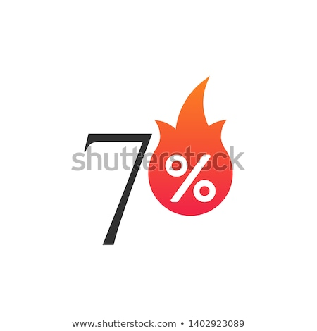 Por cento chama ardente adesivo etiqueta Foto stock © kyryloff
