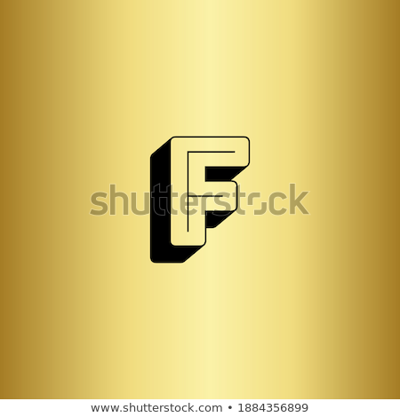 Line font with shadow Letter F 3D Stock photo © djmilic