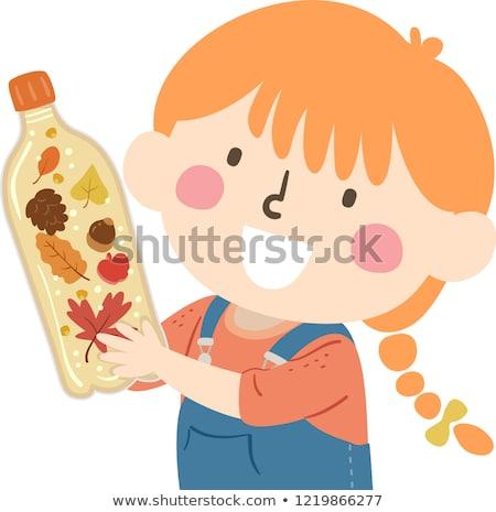 Kid meisje najaar zintuiglijk fles illustratie Stockfoto © lenm