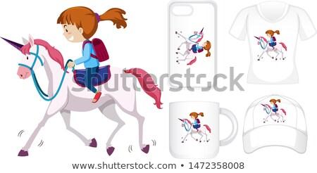 графического дизайна различный продукции девушки верховая езда женщину Сток-фото © bluering