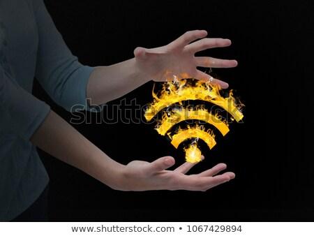 Kobieta ręce wifi ognia ikona czarny Zdjęcia stock © wavebreak_media