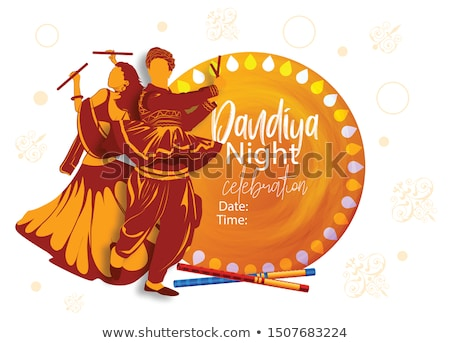 Woman playing Dandiya in disco Garba Night banner poster for Navratri Dussehra festival of India Stock photo © vectomart
