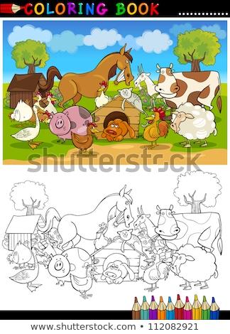 Cartoon honden groep kleurboek pagina zwart wit Stockfoto © izakowski