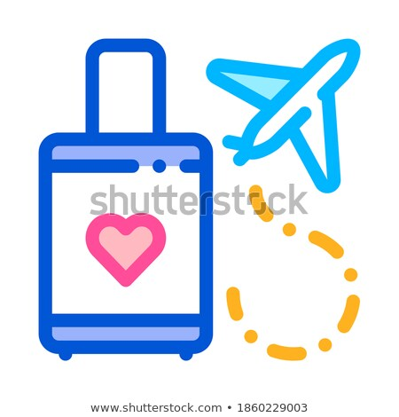 Valise And Airplane Honeymoon Trip Vector Icon Stock photo © pikepicture