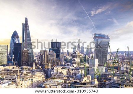 The modern skyscrapers of the City of London Stock photo © elxeneize