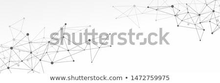 Black and grey abstract futuristic crypto blockchain illustration. White dots and shapes in triangle Stock photo © karetniy