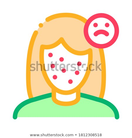 Acne Face Sad Girl Icon Outline Illustration Stock photo © pikepicture