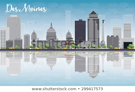 Des Moines Skyline with Grey Buildings and reflections Stock photo © ShustrikS