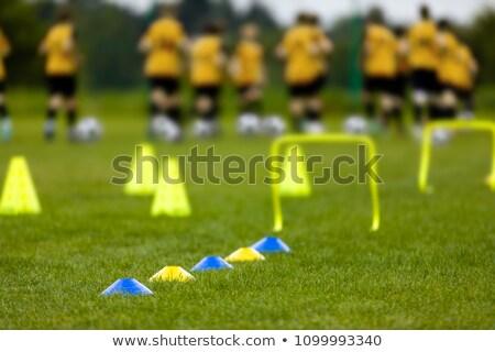 Voetballer lopen bal opleiding toonhoogte voetbal Stockfoto © matimix