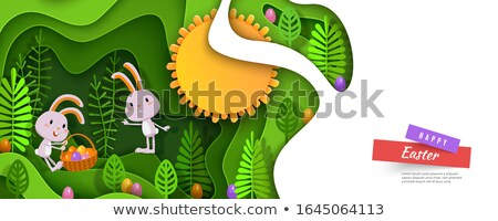 Happy easter papercut banner rabbit eggs in basket Stock photo © cienpies